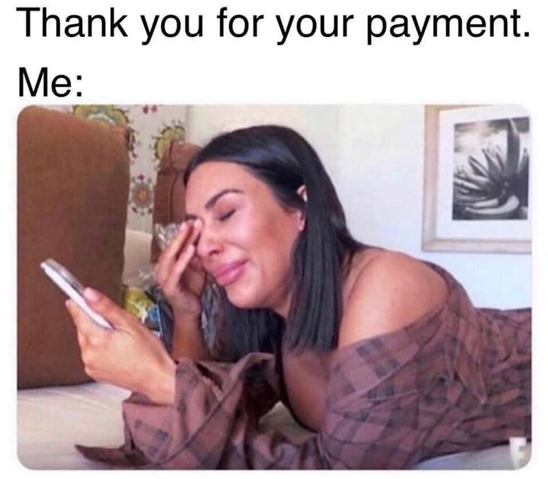 Photograph - Thank you for your payment. Me: