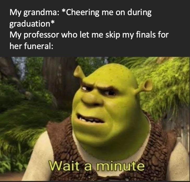Plant - My grandma: *Cheering me on during graduation* My professor who let me skip my finals for her funeral: Wait a minute