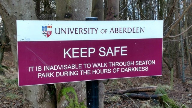 Plant - UNIVERSITY OF ABERDEEN KEEP SAFE IT IS INADVISABLE TO WALK THROUGH SEATON PARK DURING THE HOURS OF DARKNESS