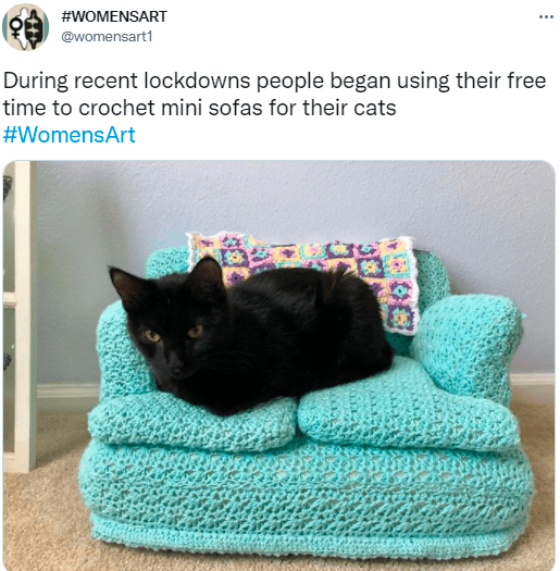 Cat - #WOMENSART @womensart1 During recent lockdowns people began using their free time to crochet mini sofas for their cats #WomensArt