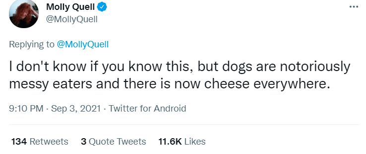 Font - Molly Quell O @MollyQuell ... Replying to @MollyQuell I don't know if you know this, but dogs are notoriously messy eaters and there is now cheese everywhere. 9:10 PM - Sep 3, 2021 - Twitter for Android 134 Retweets 3 Quote Tweets 11.6K Likes