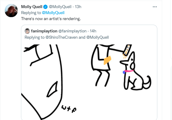 Product - Molly Quell O @MollyQuell - 13h Replying to @MollyQuell There's now an artist's rendering. fanimplaytion @fanimplaytion - 14h Replying to @ShiroTheCraven and @MollyQuell