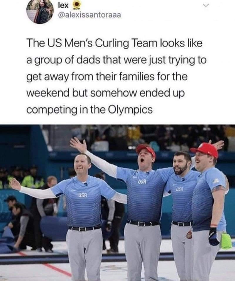 Trousers - lex @alexissantoraaa The US Men's Curling Team looks like a group of dads that were just trying to get away from their families for the weekend but somehow ended up competing in the Olympics USA USA USA
