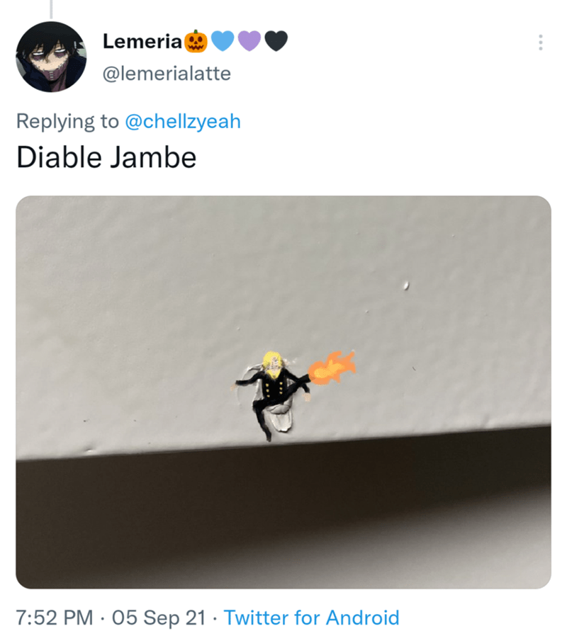 Line - Lemerial @lemerialatte Replying to @chellzyeah Diable Jambe 7:52 PM · 05 Sep 21 · Twitter for Android