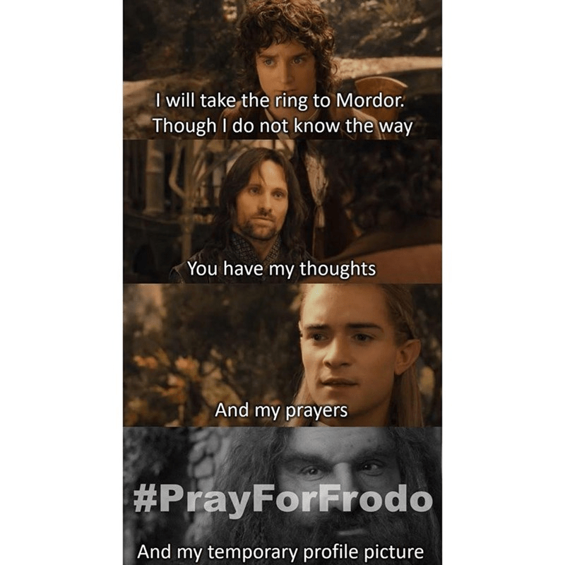 Face - I will take the ring to Mordor. Though I do not know the way You have my thoughts And my prayers #PrayForFrodo And my temporary profile picture