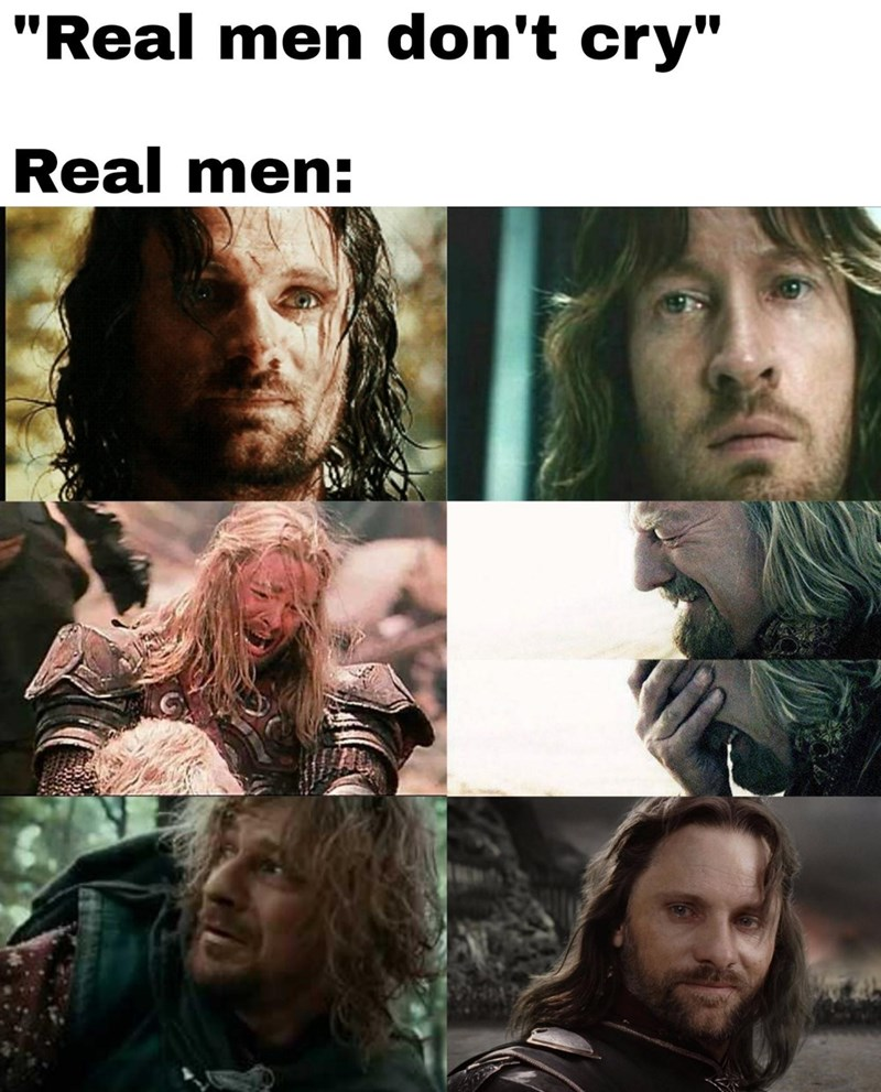 """Forehead - """"Real men don't cry"""" Real men:"""