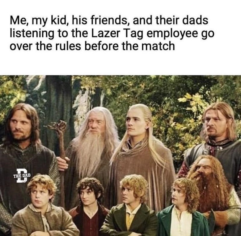 Hair - Me, my kid, his friends, and their dads listening to the Lazer Tag employee go over the rules before the match THE DAD コ