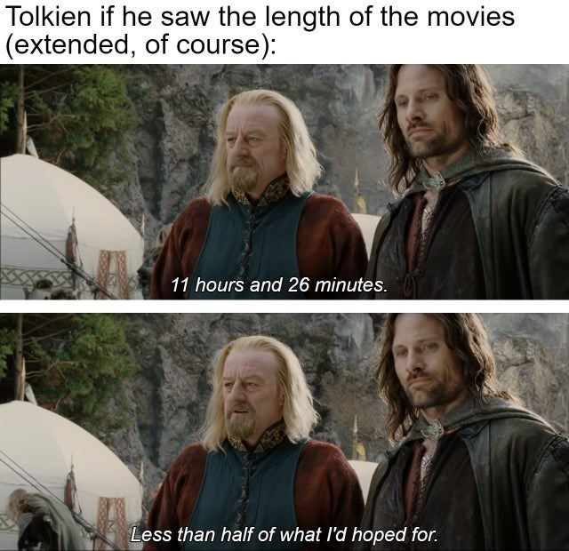 Clothing - Tolkien if he saw the length of the movies (extended, of course): 11 hours and 26 minutes. Less than half of what l'd hoped for.