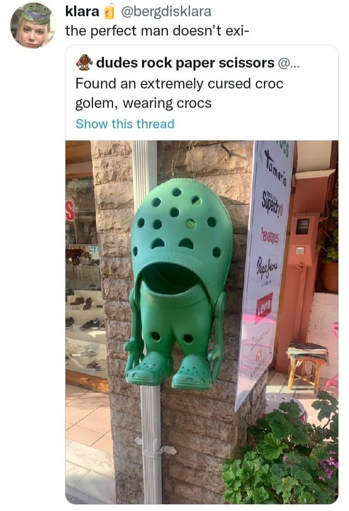 Plant - klara j @bergdisklara the perfect man doesn't exi- dudes rock paper scissors @.. Found an extremely cursed croc golem, wearing crocs Show this thread Levis Tomais