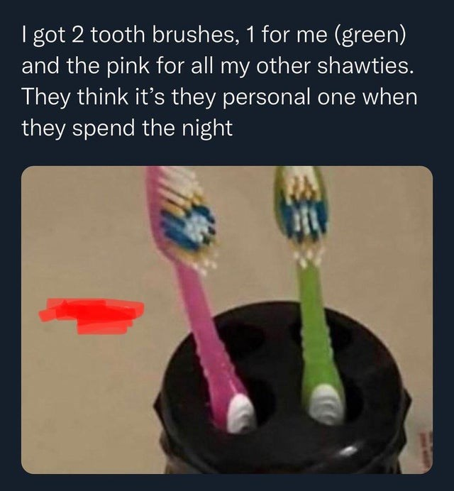 Arm - I got 2 tooth brushes, 1 for me (green) and the pink for all my other shawties. They think it's they personal one when they spend the night