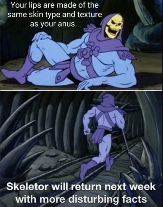 Cartoon - Your lips are made of the same skin type and texture as your anus. Skeletor will return next week with more disturbing facts