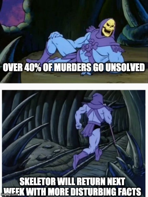 Cartoon - OVER 40% OF MURDERS GO UNSOLVED SKELETOR WILL RETURN NEXT WEEK WITH MORE DISTURBING FACTS imgfilp.com