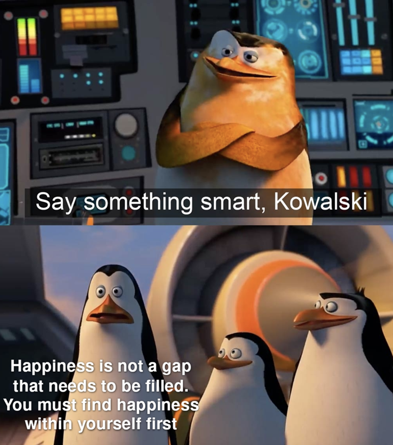 Bird - Say something smart, Kowalski Happiness is not a gap that needs to be filled. You must find happiness within yourself first : :