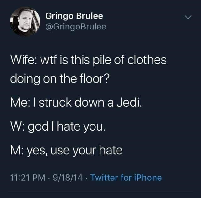 Organism - Gringo Brulee @GringoBrulee Wife: wtf is this pile of clothes doing on the floor? Me: I struck down a Jedi. W: god I hate you. M: yes, use your hate 11:21 PM · 9/18/14 · Twitter for iPhone