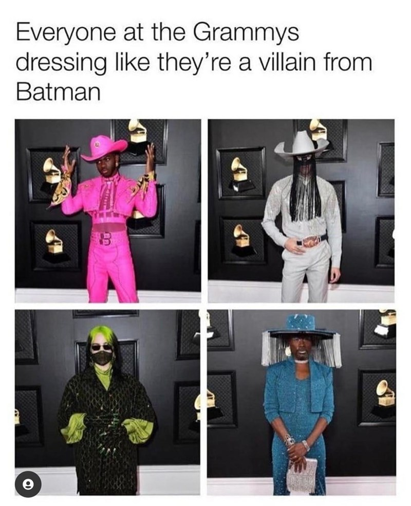 Clothing - Everyone at the Grammys dressing like they're a villain from Batman