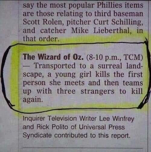 Font - say the most popular Phillies items are those relating to third baseman Scott Rolen, pitcher Curt Schilling, and catcher Mike Lieberthal, in that order. The Wizard of Oz. (8-10 p.m., TCM) Transported to a surreal land- scape, a young girl kills the first. person she meets and then teams up with three strangers to kill again. - Inquirer Television Writer Lee Winfrey and Rick Polito of Universal Press Syndicate contributed to this report.