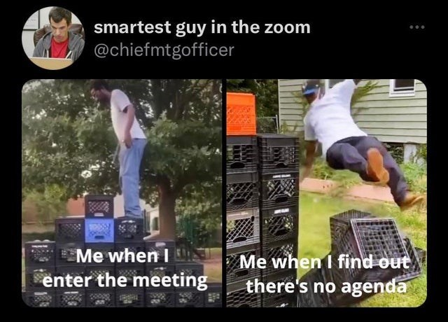 World - smartest guy in the zoom @chiefmtgofficer E Me when I Me when I find out there's no agenda enter the meeting