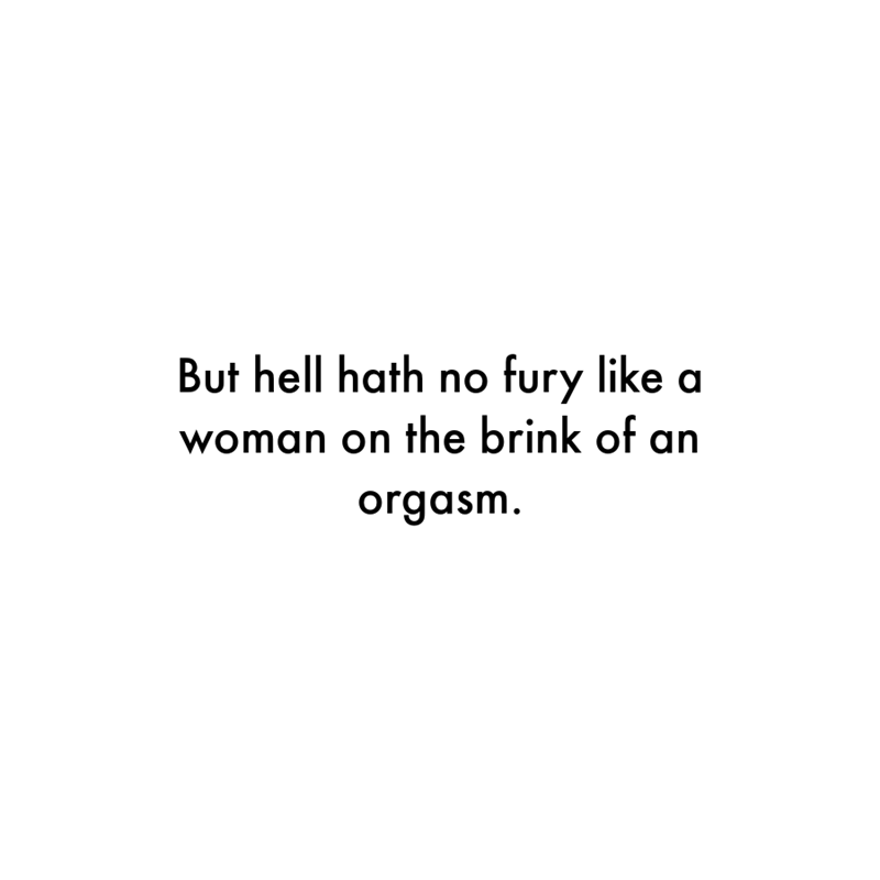 Font - But hell hath no fury like woman on the brink of an orgasm.