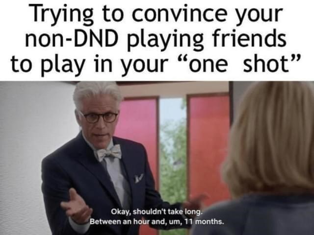 """Facial expression - Trying to convince your non-DND playing friends to play in your """"one shot"""" Okay, shouldn't take long. Between an hour and, um, 11 months."""