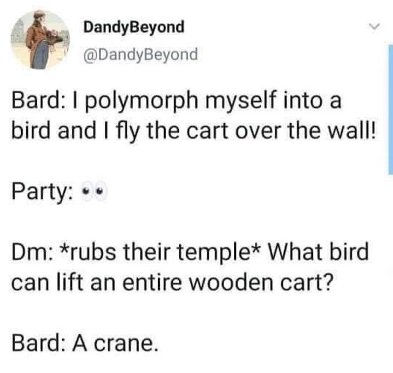 Font - DandyBeyond @DandyBeyond Bard: I polymorph myself into a bird and I fly the cart over the wall! Party: •• Dm: *rubs their temple* What bird can lift an entire wooden cart? Bard: A crane.