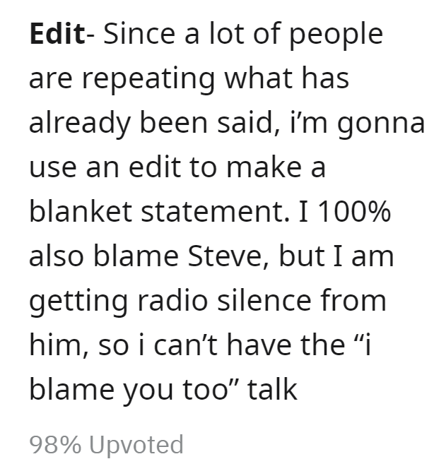 """Font - Edit- Since a lot of people are repeating what has already been said, i'm gonna use an edit to make a blanket statement. I 100% also blame Steve, but I am getting radio silence from him, so i can't have the """"i blame you too"""" talk 98% Upvoted"""