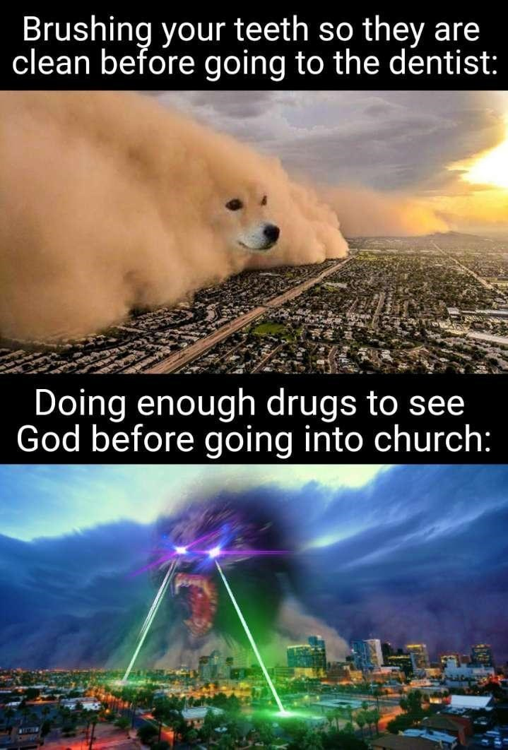 Atmosphere - Brushing your teeth so they are clean before going to the dentist: Doing enough drugs to see God before going into church: