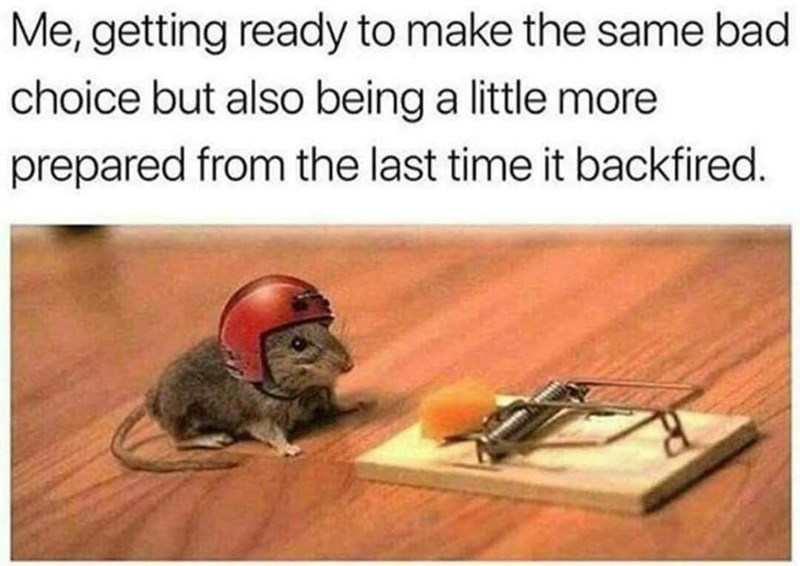 Wood - Me, getting ready to make the same bad choice but also being a little more prepared from the last time it backfired.