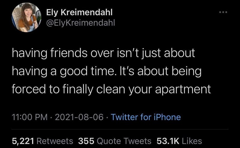 Font - Ely Kreimendahl @ElyKreimendahl having friends over isn't just about having a good time. It's about being forced to finally clean your apartment 11:00 PM · 2021-08-06 · Twitter for iPhone 5,221 Retweets 355 Quote Tweets 53.1K Likes