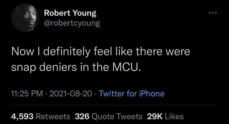 Font - Robert Young @robertcyoung Now I definitely feel like there were snap deniers in the MCU. 11:25 PM · 2021-08-20 · Twitter for iPhone 4,593 Retweets 326 Quote Tweets 29K Likes