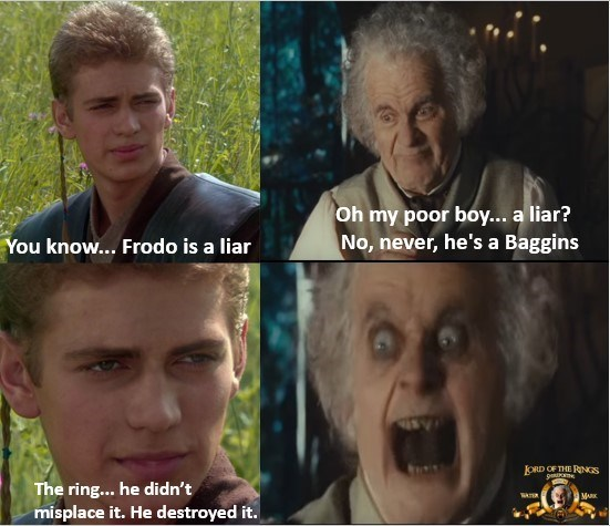 Hair - Oh my poor boy... a liar? No, never, he's a Baggins You know... Frodo is a liar ORD OF THE RINS The ring... he didn't misplace it. He destroyed it. MAK
