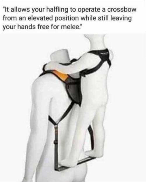 """Outerwear - """"It allows your halfling to operate a crossbow from an elevated position while still leaving your hands free for melee."""""""