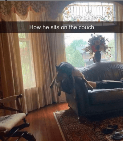 Property - How he sits on the couch