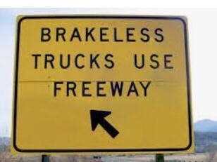 Rectangle - BRAKELESS TRUCKS USE FREEWAY