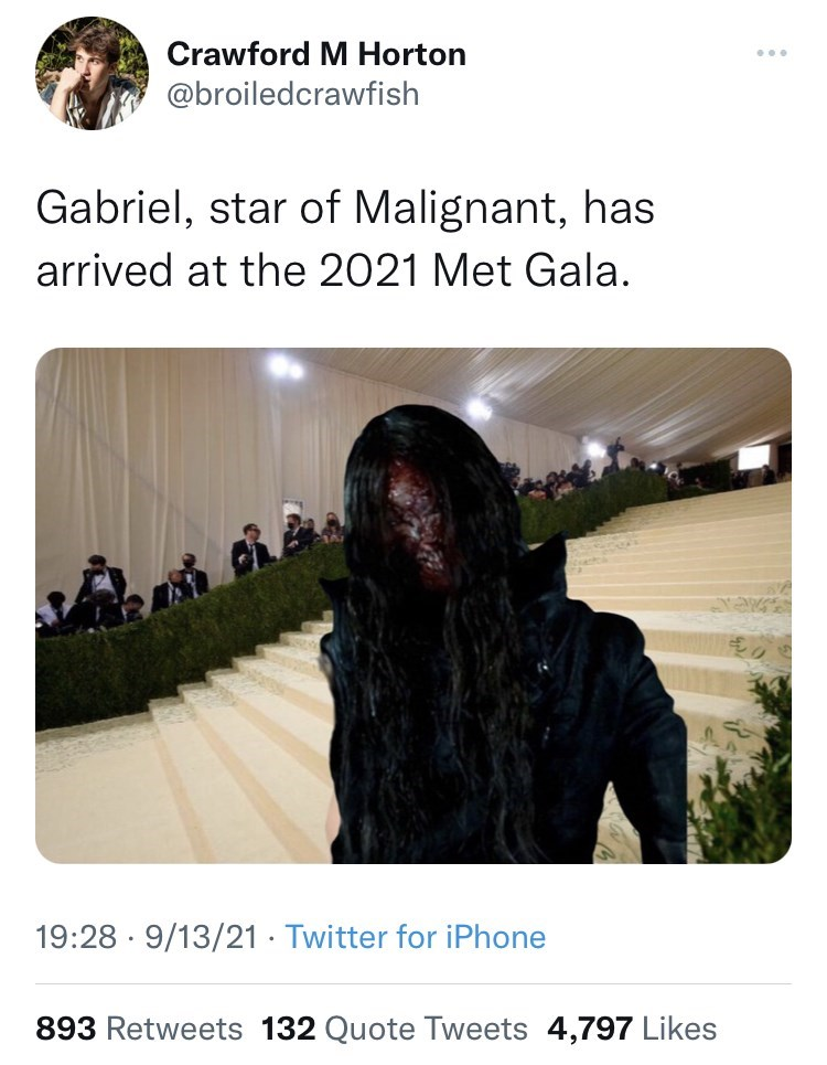 Organism - Crawford M Horton ... @broiledcrawfish Gabriel, star of Malignant, has arrived at the 2021 Met Gala. 19:28 · 9/13/21 · Twitter for iPhone 893 Retweets 132 Quote Tweets 4,797 Likes