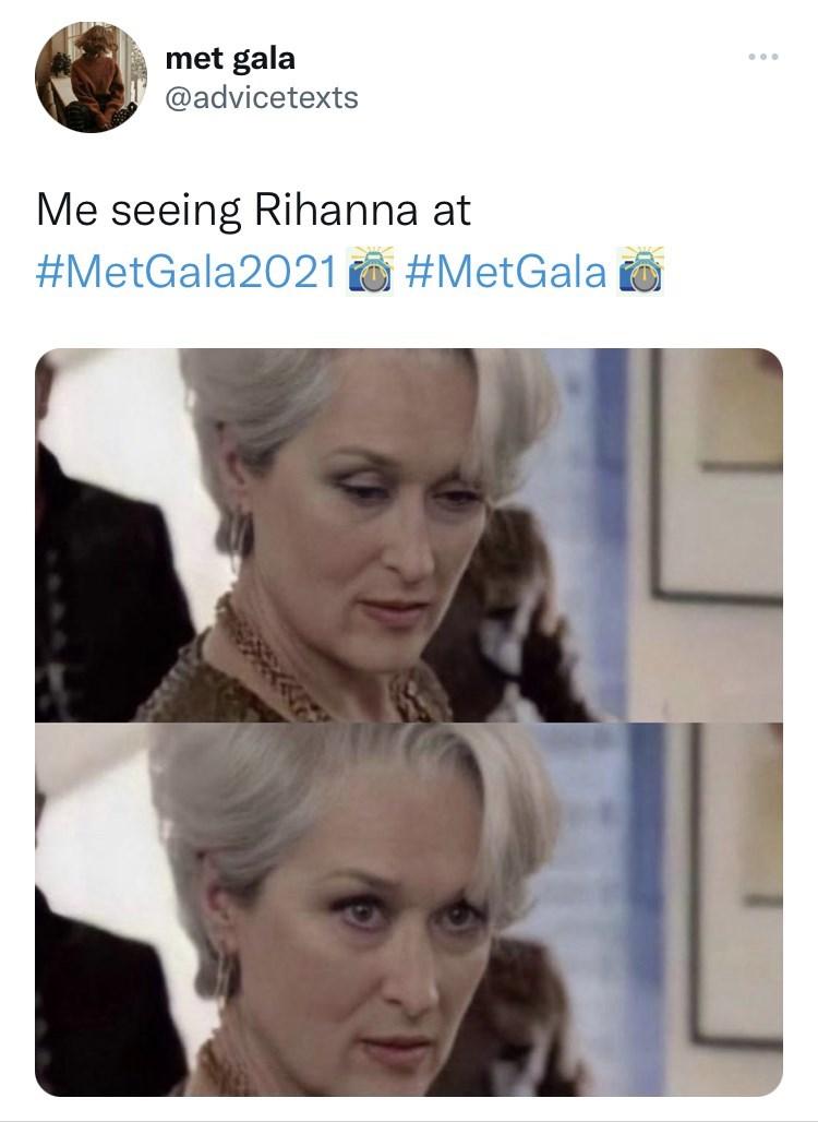 Nose - met gala @advicetexts Me seeing Rihanna at #MetGala2021 O #MetGala o