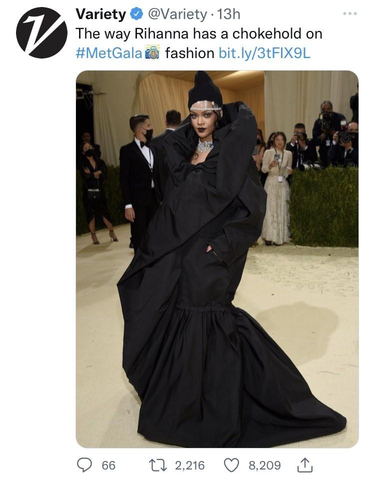 Outerwear - Variety O @Variety · 13h The way Rihanna has a chokehold on #MetGala to fashion bit.ly/3TFIX9L 66 2I 2,216 8,209 1,