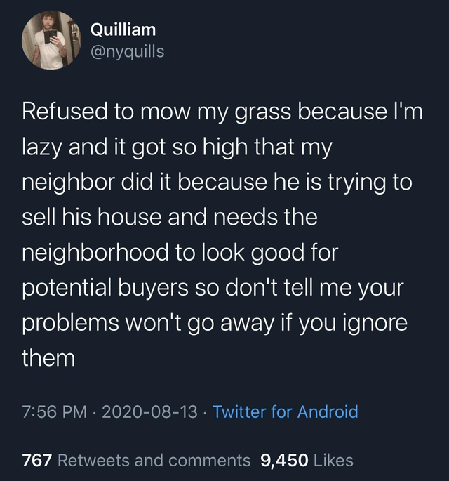 Organism - Quilliam @nyquills Refused to mow my grass because I'm lazy and it got so high that my neighbor did it because he is trying to sell his house and needs the neighborhood to look good for potential buyers so don't tell me your problems won't go away if you ignore them 7:56 PM · 2020-08-13 · Twitter for Android 767 Retweets and comments 9,450 Likes