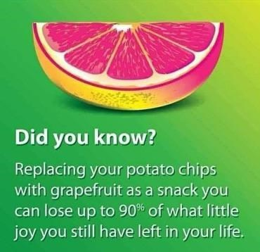 Plant - Did you know? Replacing your potato chips with grapefruit as a snack you can lose up to 90% of what little joy you still have left in your life.