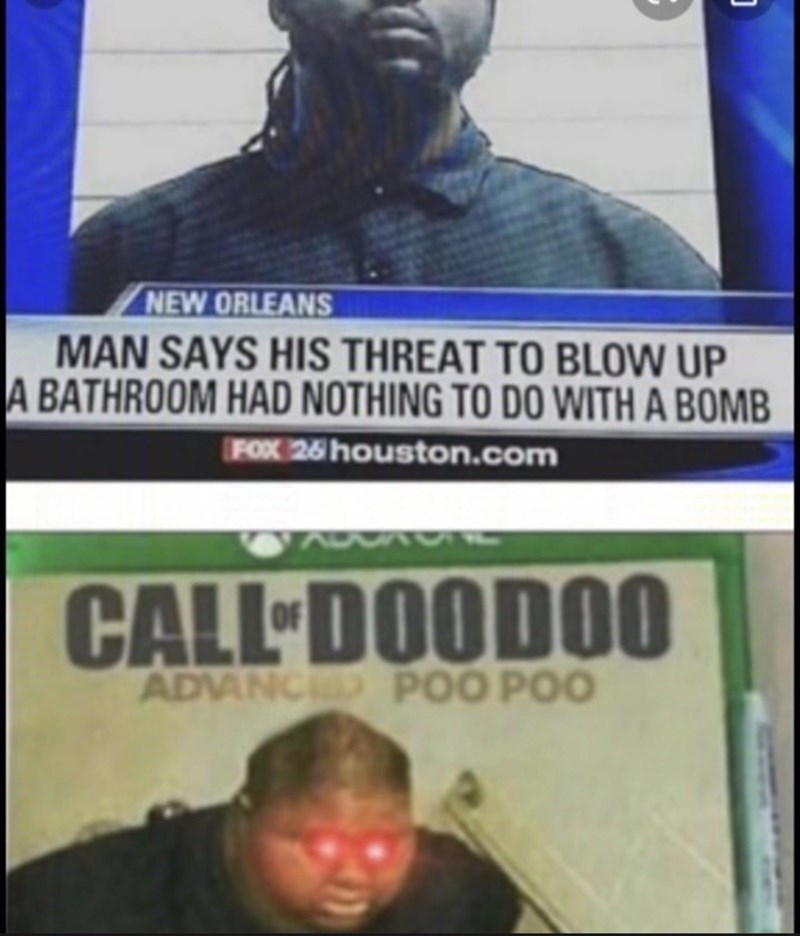 Forehead - NEW ORLEANS MAN SAYS HIS THREAT TO BLOW UP A BATHROOM HAD NOTHING TO DO WITH A BOMB FOX 26 houston.com CALL DOODO0 ADVANCED POO POO