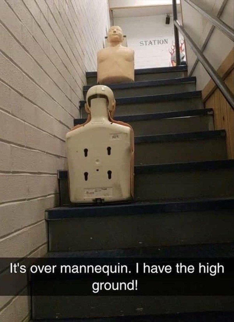 Wood - STATION It's over mannequin. I have the high ground!