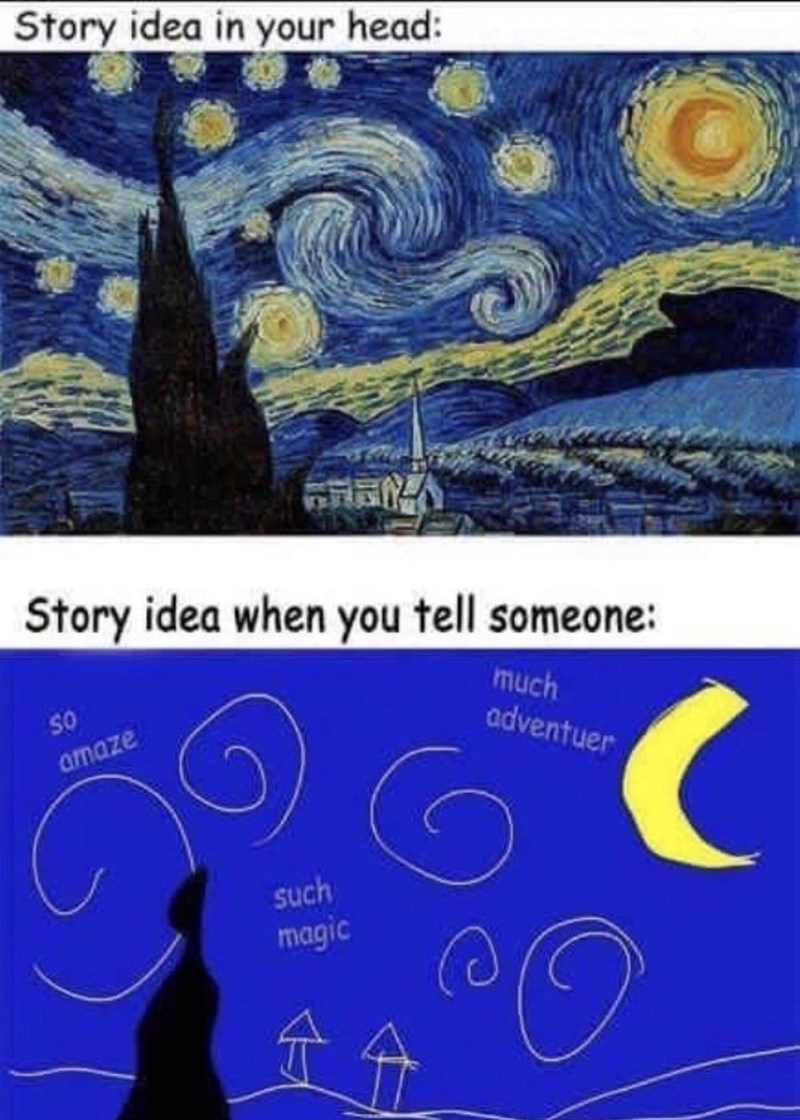 World - Story idea in your head: Story idea when you tell someone: much adventuer So amaze such magic t分