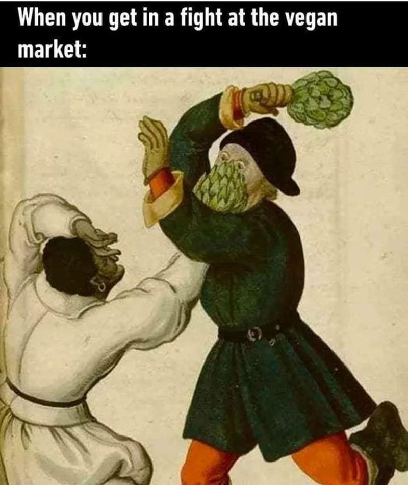 Gesture - When you get in a fight at the vegan market: