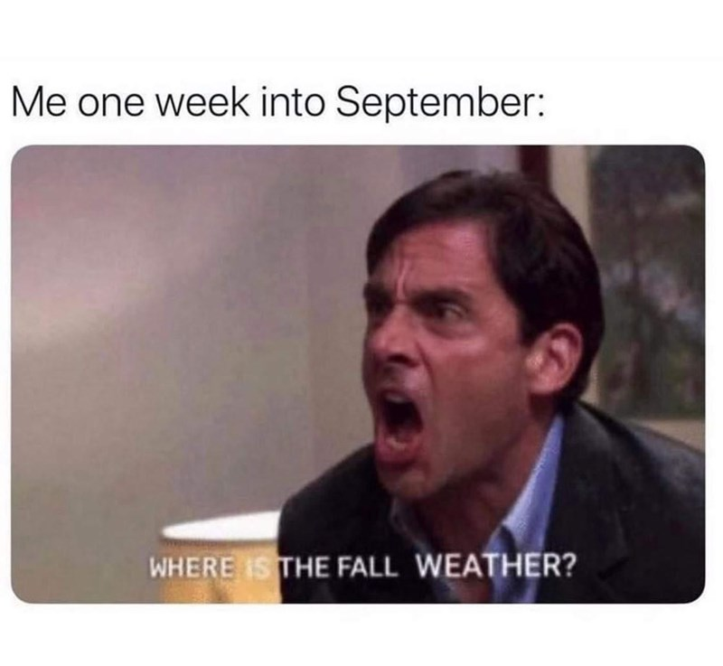 Eyebrow - Me one week into September: WHERE IS THE FALL WEATHER?