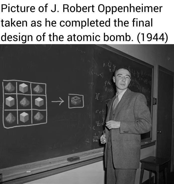 Suit trousers - Picture of J. Robert Oppenheimer taken as he completed the final design of the atomic bomb. (1944) ->