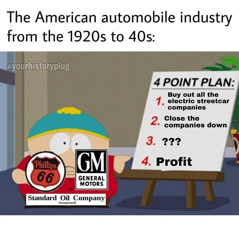 Font - The American automobile industry from the 1920s to 40s: @yourhistoryplug 4 POINT PLAN: Buy out all the 1. electric streetcar companies Close the 2. companies down 3. ??? GM Phillips 4. Profit 66 GENERAL MOTORS Standard Oil Company (Incorporated)