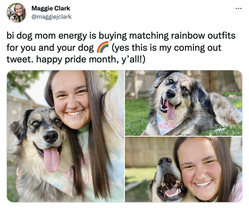 Smile - Maggie Clark @maggiejclark bi dog mom energy is buying matching rainbow outfits for you and your dog (yes this is my coming out tweet. happy pride month, y'all!)