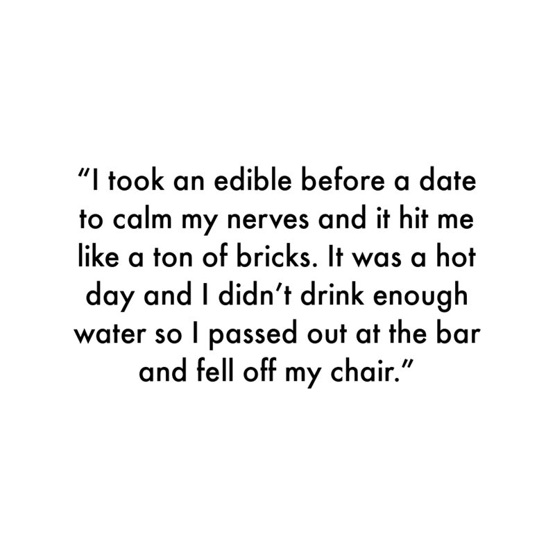 """Font - """"I took an edible before a date to calm my nerves and it hit me like a ton of bricks. It was a hot day and I didn't drink enough water so I passed out at the bar and fell off my chair."""""""