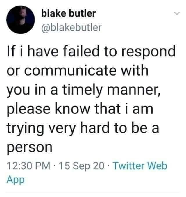 Font - blake butler @blakebutler If i have failed to respond or communicate with you in a timely manner, please know that i am trying very hard to be a person 12:30 PM 15 Sep 20 · Twitter Web App >