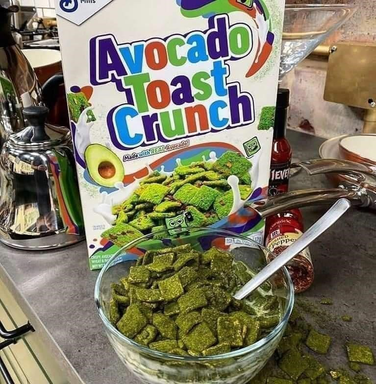 Food - Avocado VOC Toast Crunch Made with REALAvOcade TEVE METNT eppe