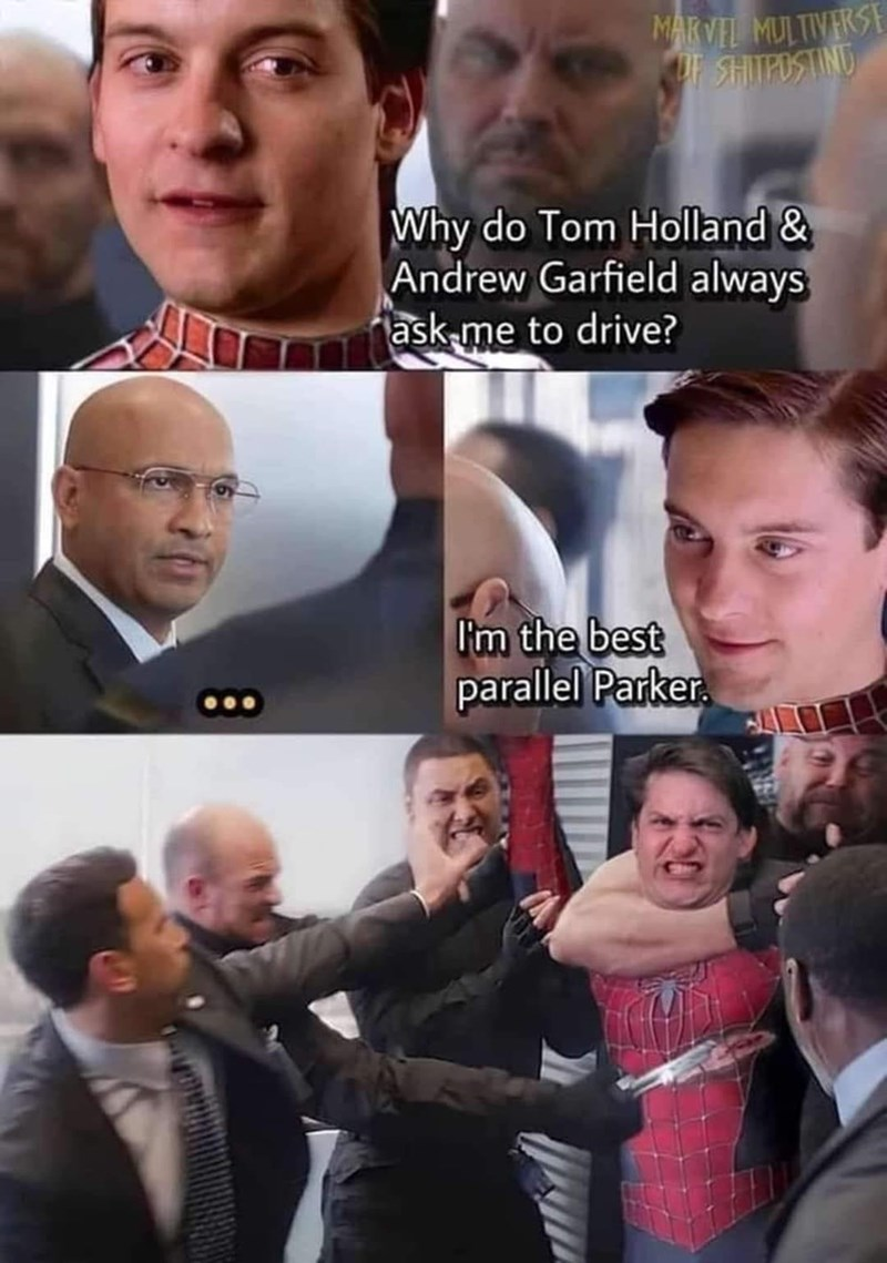 Forehead - MARVEL MULTIVERSE UF SHITPOSTINU Why do Tom Holland & Andrew Garfield always ask-me to drive? I'm the best parallel Parker.